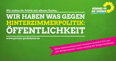 Wir haben was gegen Hinterzimmerpolitik: Öffentlichkeit!
